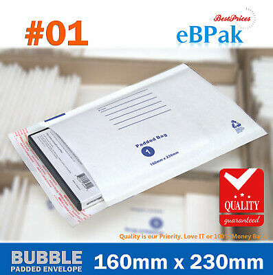 AU37.50 • Buy 200x Bubble Envelope Padded Bag 01 160 X 230mm White Cushioned Mailer 01 C5 A5