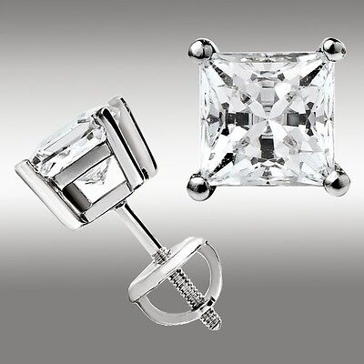 $61.24 • Buy 2.00 Ct. Princess Cut Stud Earrings W/Screw Back 14K White Gold Ideal