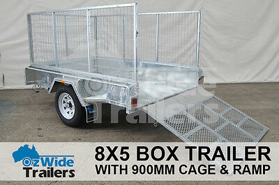 AU2449 • Buy 8 X 5 BOX TRAILER BRAND NEW GALVANISED WITH 900MM CAGE + RAMP - FULLY WELDED