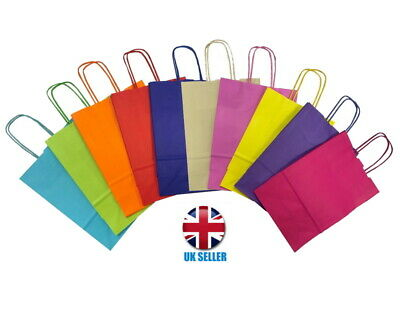 £1.99 • Buy Bright Paper Gift Bags - Party Bag With Handles - Recyclable Birthday Loot Bag