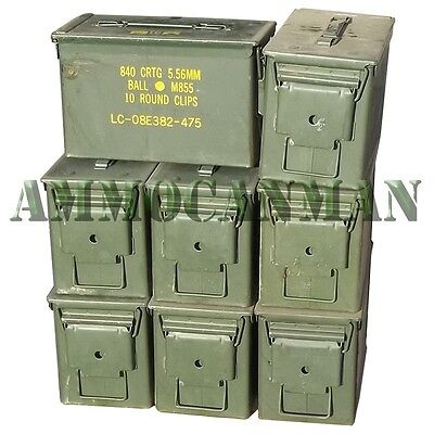 $114 • Buy 8-pack! Eight 50 Cal Grade 1 Ammo Cans M2a1 5.56 Empty Ammunition Cans