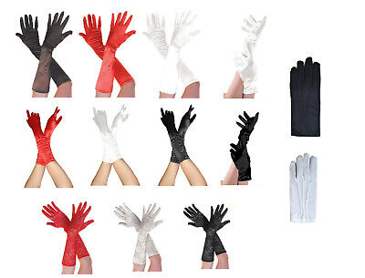 £4.99 • Buy Ladies Satin Short / Long Elbow Length Ruched Opera Gloves 1950s Fancy Dress 20s