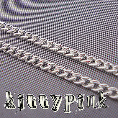 10 Metres Silver Plated Curb Jewellery Chain 3 X 2mm NICKEL FREE WHOLESALE BULK • 3.50£