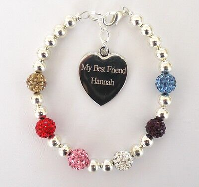 Mixed Colour Crystal Ladies Girls Friends Engraved Personalised Bracelet In Box • 14.99£