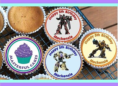 24 Personalised Edible Transformers Rice Paper Cup Cake Toppers  • 2.70£