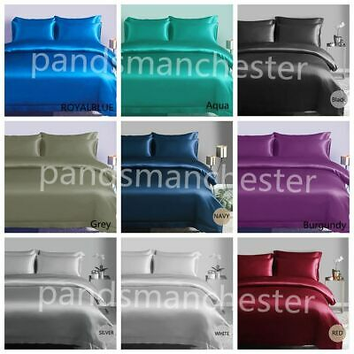 AU39.99 • Buy New Silky Soft Satin Queen/King Quilt Cover Sheet Set Flat,Fitted,Pillowcases