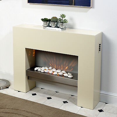 Free Standing Electric Fire MDF Creme Surround Fireplace Flicker Living Flame • 179.99£