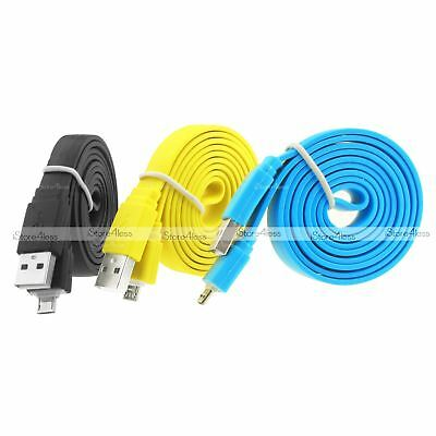 $2.33 • Buy 1m 2m 3m Flat Noodle Micro Usb Charger Cable For Galaxy S5 S6 S7 Edge Note 5 4