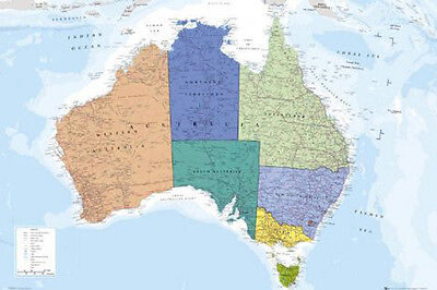 AU23.92 • Buy (laminated) Map Of Australia Colourful Poster (61x91cm) Educational Wall Chart