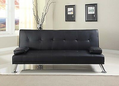 Stunning Faux Leather Italian Designer Style Sofa Bed With Chrome Legs 4 Colours • 144.99£