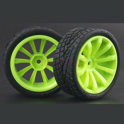 4PCS  RC 1:10 On-Road Car Foam Soft Rubber Tyres Tires &Wheel Rim Green 603-8001 • 5.75£