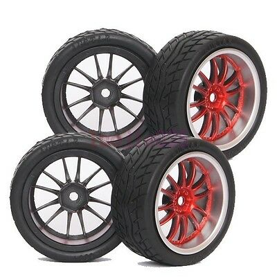 SET RC 1:10 On-Road Car Foam Soft Rubber Tyres Tires &Wheel Rim Red 9048-8004 • 7.20£
