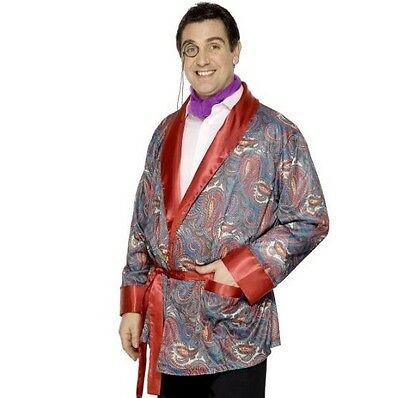 Mens 20s 1920s 20's Smoking Jacket Gent Paisley Meerkat Heffner New By Smiffys • 31.99£