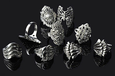 $ CDN27.16 • Buy 100 Pcs Wholesale Jewelry Lots Mixed Style Tibet Silver Vintage Rings Free Ship