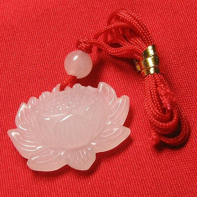 $ CDN10.13 • Buy Delicately Carved White Jade Open Bud Lotus Flower Pendant -w Silk Cord Attached