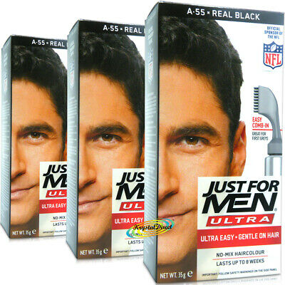 £28.09 • Buy 3x Just For Men Ultra Easy Comb In Autostop A55 Real Black Hair Colour Dye