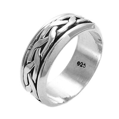 925 Sterling Silver Men's Interwoven Spinning Band Ring Size 9-14 • 18.60£