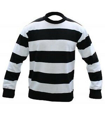 Adults Black & White Striped Fancy Dress Costume Sweater Convict Mime Jumper Top • 12.99£