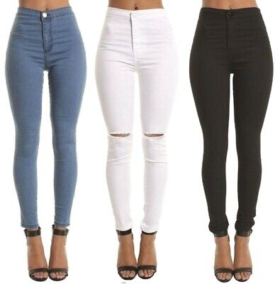 Skinny Slim High Waisted Jeans Jeggings Womens Stretchy Long Pants M 6 To 22 • 11.50£