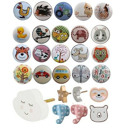 KIDS Childrens Ceramic Door Knobs Animal Handles Cupboard Drawer White Cabinet  • 2.50£