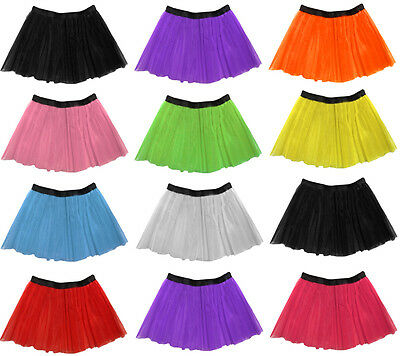 Long 14  Neon 3 Layers Of Net UV Flo Tutu Skirt Hen Fancy Dress Party Adult Size • 3.75£
