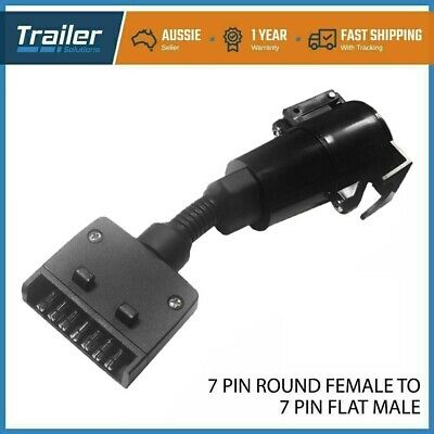 AU14.95 • Buy Car Trailer Adapter 7 Pin Flat Male Plug To 7 Pin Large Round Female Socket
