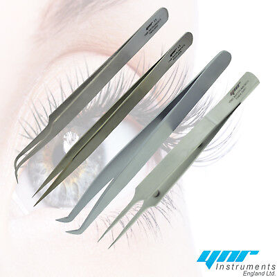 YNR® Individual Eyelash Extension Tweezers Swiss Quality Fanning Straight Curved • 3.80£