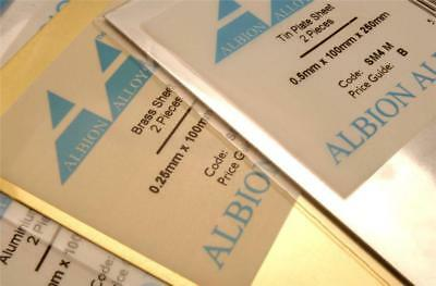 Albion Alloys Tin Plate Sheet 0.5mm - 100 Mm X 250 Mm - 2 Pack (Ref: SM4M) • 8.49£
