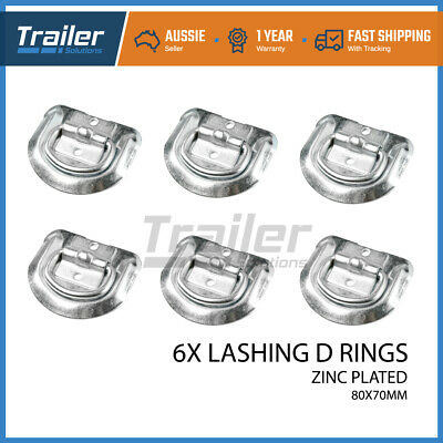 AU22.46 • Buy 6x Lashing D Ring Zinc Plated Tie Down Points Anchor Ute Trailer 80 X 70mm