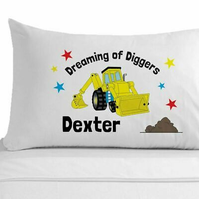 £11.99 • Buy Personalised Boys Digger Pillowcase Boys Construction Bedroom Accessories Digger