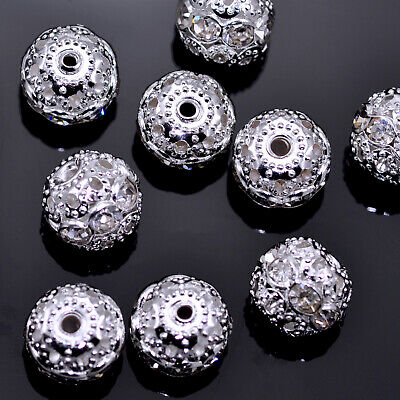 Rondelle Clear Rhinestone Crystal Diamante Silver Plated  Spacers Beads • 4.29£