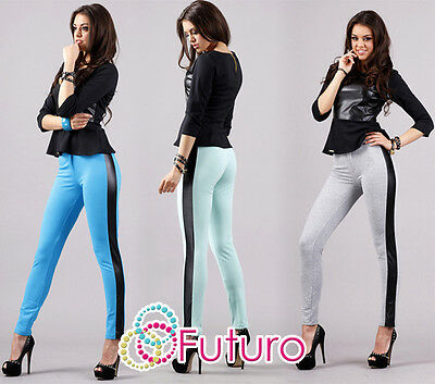UK Womens Skinny Trousers Full Lenght Stretchy New Leggings Eco Leather FA283 • 10.99£