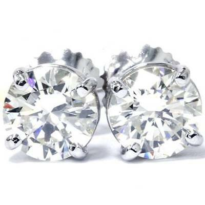 $176.71 • Buy 14K White Gold 1/2 Carat Natural Round Diamond 4-Prong Stud Earrings