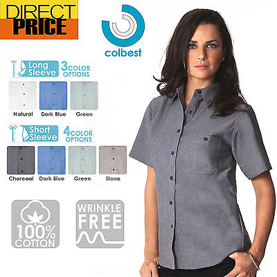 AU26.95 • Buy Ladies Womens Chambray Blouse Shirts Business Long Short Sleeve Cotton Office