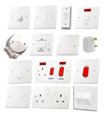 White Light Switches Plug Sockets Wiring Accessories Switch Plate Dimmer Cooker • 3.25£