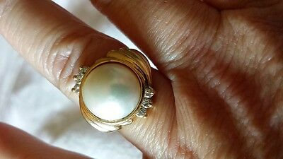 $345.99 • Buy Solid 14K Yellow Gold Mabe Pearl Diamond Ring Sz 5