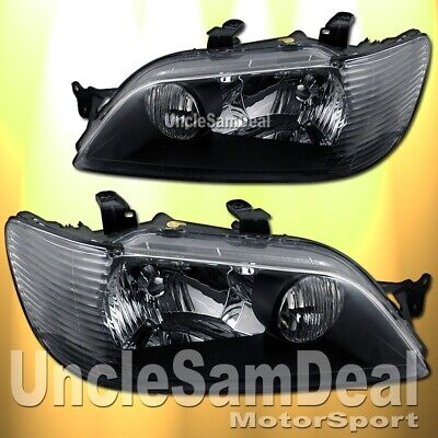 $164.99 • Buy 02-03 Mitsubishi Lancer Factory Look Clear Lens Black Headlights Direct Fit Pair