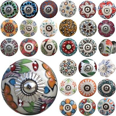 Ceramic Door Knob ARTISAN Handles Pull HIPPY ARTY MULTI COLOURED Cupboard Drawer • 2.50£