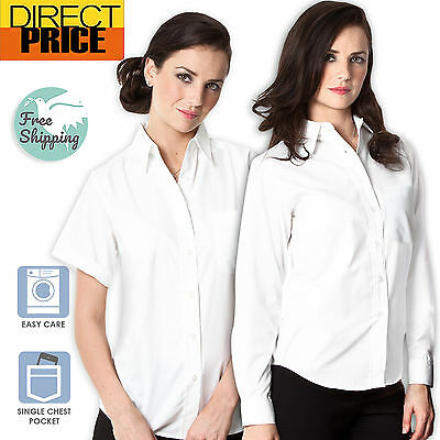 AU19.45 • Buy Ladies Womens Shirts Blouse White Oxford Business Office Long Short Sleeve Top