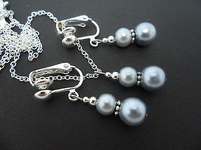 £3.99 • Buy A Silver Grey  Pearl   Necklace And Clip On  Earring Set. New.