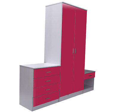 £32.99 • Buy Pink & White Gloss Bedroom Furniture 3 Piece Trio Set Wardrobe, Chest & Bedside