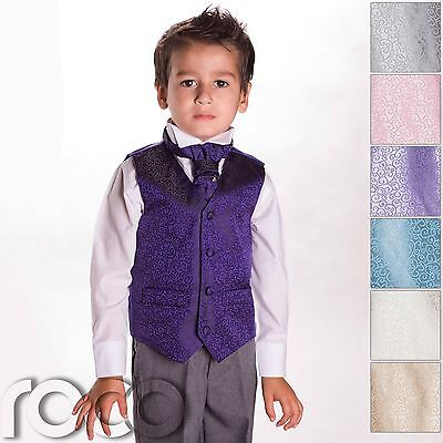 £19.99 • Buy Boys Swirl Waistcoat Suits, Page Boy Suits, Boys Wedding Suits, Boys Suits