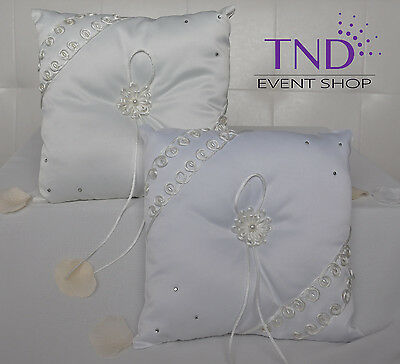 Satin Wedding Ring Bearer Pillow Accented With Pearls And Rhinestones • 10.01£