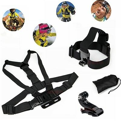 AU15.85 • Buy Adjustable Chest+Head Mount Harness Strap GoPro Accessory Hero 7/6/5/4/3+/3/2/1