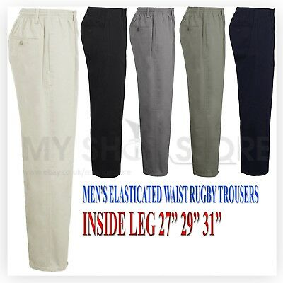 Mens Rugby Trousers Full Elasticated Waist Casual Smart Pocket Pants Big Plus • 12.99£