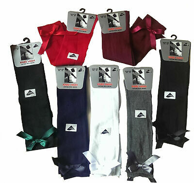 6 Girls Knee High Girls School Socks With Satin Bow All Size • 9.99£