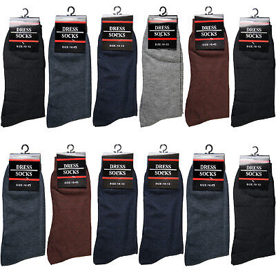 $13.99 • Buy New 12 Pairs Mens Dress Socks Fashion Casual Crew Multi Color Cotton Size 10-13