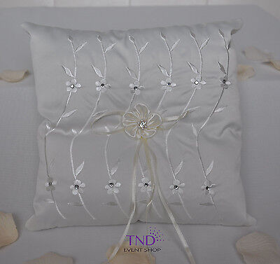 Satin Wedding Ring Bearer Pillow Accented With Rhinestones & Floral Embroidery • 10.01£