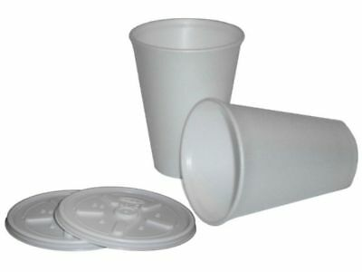 White Insulated Polystyrene Foam Cups 7 / 10 / 12 / 16 / 20 Oz Cups & Lid Option • 32.99£