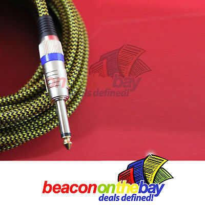 AU19.50 • Buy ASHTEC Aussie Made 10 Ft Guitar Lead Instrument Cable Braided Tweed